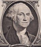 George Washington stående på oss en makro för dollarräkning, Förenta staterna pengarcloseup arkivbild