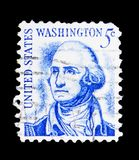 George Washington (1732-1799), 1st President, Famous Americans s. MOSCOW, RUSSIA - MAY 15, 2018: A stamp printed in USA shows George Washington (1732-1799), 1st royalty free stock photos