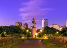 George Washington statue at Boston Public Garden stock image