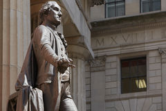 George Washington statue in New York, sunny day. George Washington statue in front of Federal Hall, New York stock photography
