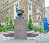 George Washington Statue. In front of the Lafayette Hall in The George Washington University in Washington D.C stock image