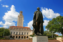 George Washington statue at University of Texas. TEXAS-JUL 19: George Washington statue at University of Texas (UT) against blue sky in Austin, Texas on July 19 stock photography