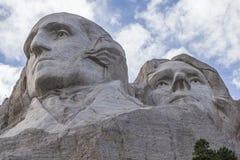 George Washington y Thomas Jefferson On Mount Rushmore Foto de archivo libre de regalías