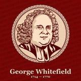 "George Whitefield †1714"" 1770 var en engelsk predikant, en av grundarna tillsammans med John Wesley royaltyfri illustrationer"