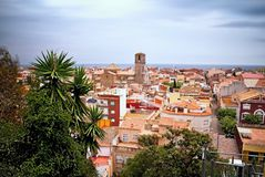 A georgeous view from the outlook over Malgrat de Mar, Spain. View over the old town Malgrat de Mar in the background with Mediterranean sea and the Cathedral Stock Photos