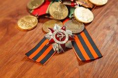 Georges band och medaljer för segern över Tyskland close upp Fotografering för Bildbyråer