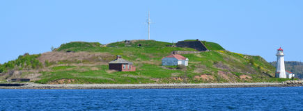 Georges Island Lighthouse. HALIFAX NOVA SCOTIA JUNE 7: Georges Island Lighthouse is a prominent concrete lighthouse, built in 1917 which replaced an earlier stock image