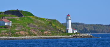 Georges Island Lighthouse. HALIFAX NOVA SCOTIA JUNE 7: Georges Island Lighthouse is a prominent concrete lighthouse, built in 1917 which replaced an earlier royalty free stock photography