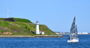 Georges Island Lighthouse. HALIFAX NOVA SCOTIA JUNE 7: Georges Island Lighthouse is a prominent concrete lighthouse, built in 1917 which replaced an earlier royalty free stock photo