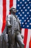 Georges Washington statue, american flag. Background stock photo