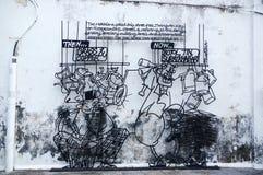 GEORGETOW,槟榔岛,马来西亚- 2016年4月18日:在乔治镇区域遗产区域附近架线钢标尺艺术 由地方艺术家的雕塑 库存图片
