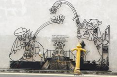 GEORGETOW, PENANG, ΜΑΛΑΙΣΊΑ - 18 Απριλίου 2016: Τέχνη ράβδων χάλυβα καλωδίων γύρω από τη ζώνη κληρονομιάς πόλης περιοχής του Geor Στοκ Εικόνες