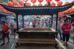 GEORGETOWN ÅR för DAG för PENANG-/MALAYSIA—MÅNAD: Kines firar Royaltyfria Foton