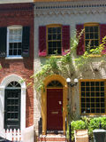 Georgetown colonial house. Elegant colonial house in Georgetown DC, beatiful windows and window shutters Royalty Free Stock Images