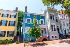 Georgetown dziejowe gromadzkie fasady Waszyngtońskie obrazy royalty free