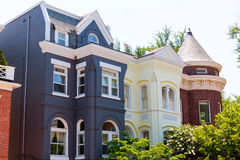 Georgetown historical district facades Washington. Georgetown historical district townhouses facades Washington DC in USA Royalty Free Stock Photography