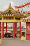 GEORGETOWN, MALÁSIA - 18 DE JANEIRO DE 2016: uma opinião do close up do templo de Hean Boo Thean Kuanyin Chinese Buddhist em molh fotografia de stock royalty free