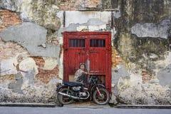 Penang Street Art, Georgetown Attractions stock photos