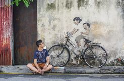 Penang Street Art, Georgetown Attractions royalty free stock photography