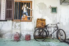 Penang Street Art, Georgetown Attractions royalty free stock photos