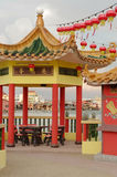 GEORGETOWN, MALAYSIA - JANUARY 18, 2016: a closeup view of Hean Boo Thean Kuanyin Chinese Buddhist temple in Clan Jetties. Built o Royalty Free Stock Photography