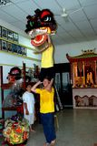 Georgetown, Malesia: Lion Dancing School Immagini Stock