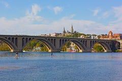 Georgetown nabrzeża blisko klucza most w washington dc, usa obraz royalty free