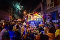 """Georgetown, Penang Januari 2016 van Maleisië †""""CIRCA: Vuurwerk vóór le Royalty-vrije Stock Afbeelding"""