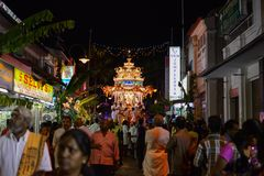Hindu devotees in Penang seeking blessings, fulfilling vows and offering thanks during Thaipusam Festival. GEORGETOWN, PENANG/MALAYSIA – CIRCA JAN 2016: Hindu Stock Images
