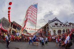 Public visit to Georgetown World Heritage to enjoy Chingay performance during chinese new year celebration. GEORGETOWN, PENANG/MALAYSIA –FEBRUARY 13 2016 Royalty Free Stock Photography