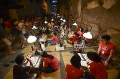 GEORGETOWN, PENANG/MALAYSIA ï ¼  8 2016 LIPIEC: Dzieciaki cieszy się sztukę ch Obraz Stock