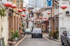 Georgetown Penang/Malaysia - circa Oktober 2015: Gamla gator och arkitektur av Georgetown, Penang, Malaysia arkivbild