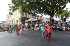 GEORGETOWN, PENANG/MALAYSIA - 8 JULY 2016: Punjabi dance at stre Royalty Free Stock Photos