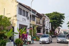 Georgetown, Penang/Malesia - circa ottobre 2015: Vecchie vie ed architettura di Georgetown, Penang, Malesia immagini stock libere da diritti