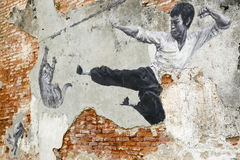 Georgetown Penang Malezja sztuki Uliczny malowidło ścienne Bruce Lee Zdjęcie Royalty Free