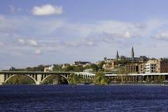 Georgetown from Potomac river, Washington DC Royalty Free Stock Photo
