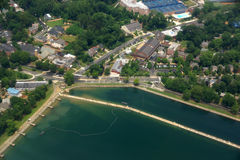 Georgetown Reservoir, roads, and surrounding buildings outside o Royalty Free Stock Photography