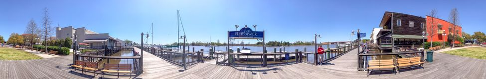 GEORGETOWN, SC - APRIL 5, 2018: Panoramic view of city waterfront. Georgetown is a famous attraction in South Carolina.  stock photo