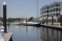 Georgetown South Carolina. Inland waterway with private yachts and boat landing Royalty Free Stock Image