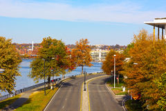 Georgetown strand parkerar nära Potomac River i Washington DC, USA Arkivbilder