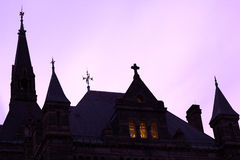 Georgetown University silhouette after sunset. Catholic University buildings at night Royalty Free Stock Photos