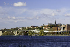Georgetown vom Potomac-Fluss, Washington DC Lizenzfreies Stockfoto