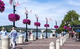 Georgetown Waterfront Boardwalk on a Sunday Afternoon. Washington DC, United States of America - August 6, 2017: Georgetown Waterfront Boardwalk on a Sunday stock images