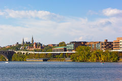 Georgetown waterfront suburb in Washington DC with a view on university historic buildings. Stock Photography