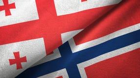 Georgië en Noorwegen twee vlaggen textieldoek, stoffentextuur vector illustratie