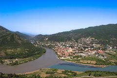 georgië Mtskheta De rivieren van Kura en Aragvi- stock foto's