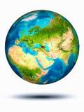 Georgië ter wereld met witte achtergrond Stock Afbeelding