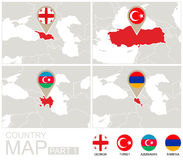Georgië, Turkije, Azerbeidzjan, Armenië op de kaart van Europa Royalty-vrije Stock Foto's