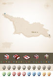Georgia. And Asia maps, plus extra set of isometric icons & cartography symbols set (part of the World Maps Set Royalty Free Stock Photography