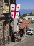 Georgia. N flag hanging on one of the traditional buildings in Sighnagi Stock Images